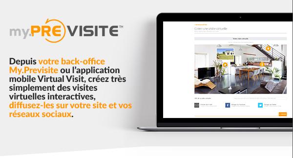 Depuis votre back-office My.Previsite ou l'application mobile Virtual Visit, créez très simplement des visites virtuelles interactives, diffusez-les sur votre site et vos reseaux sociaux.
