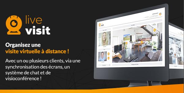 live visit Organisez une visite virtuelle à distance !  Avec un ou plusieurs clients, via une synchronisation des écrans, un système de chat et de visioconférence