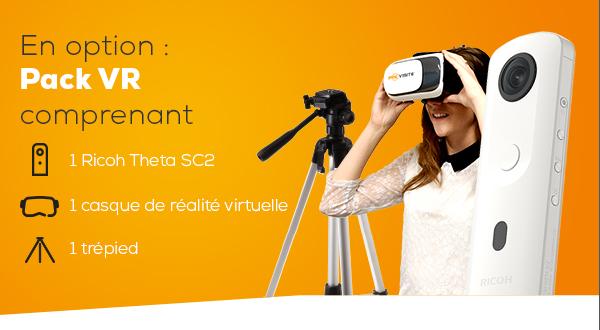 En option : pack VR qui comprend  1 ricoh theta SC2 1 casque de realité virtuelle 1 trepied
